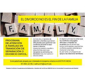Programa de atención a las familias en transición de separación o divorcio difícil de la Universidad Complutense de Madrid.