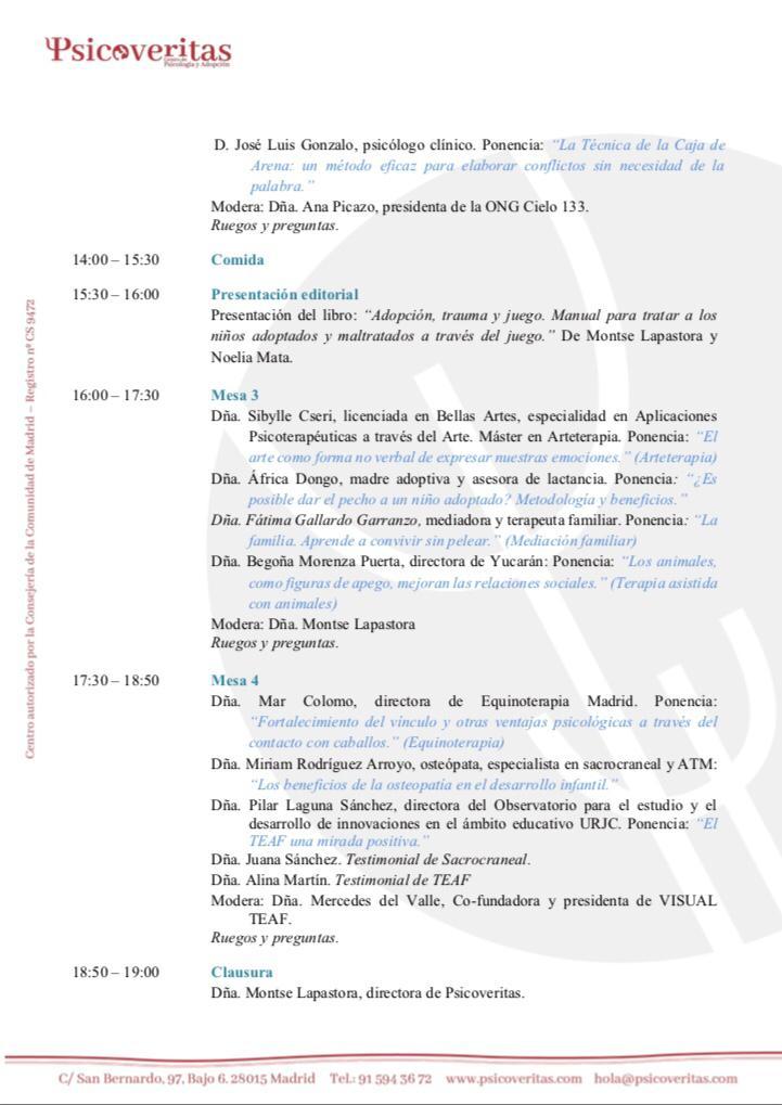 Programa 2. I Jornada de Innovación en Psicología y Adopción: Terapias de última generación para ayudar a nuestros niños.