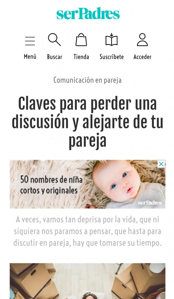 Revista «Ser Padres»: Claves para perder una discusión y alejarte de tu pareja.